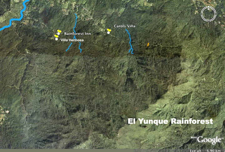 Location of Villa Hermosa north of the El Yunque rainforest puerto rico