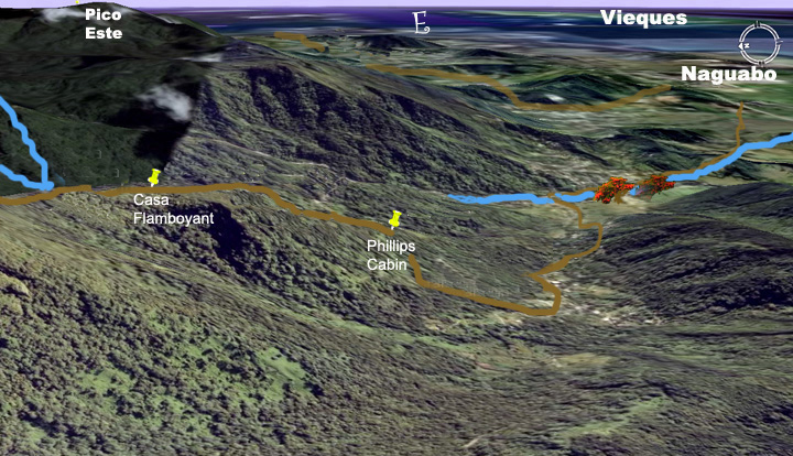 Sat map showing the location of Phillips cabin on the south slope of the El Yunque mountains