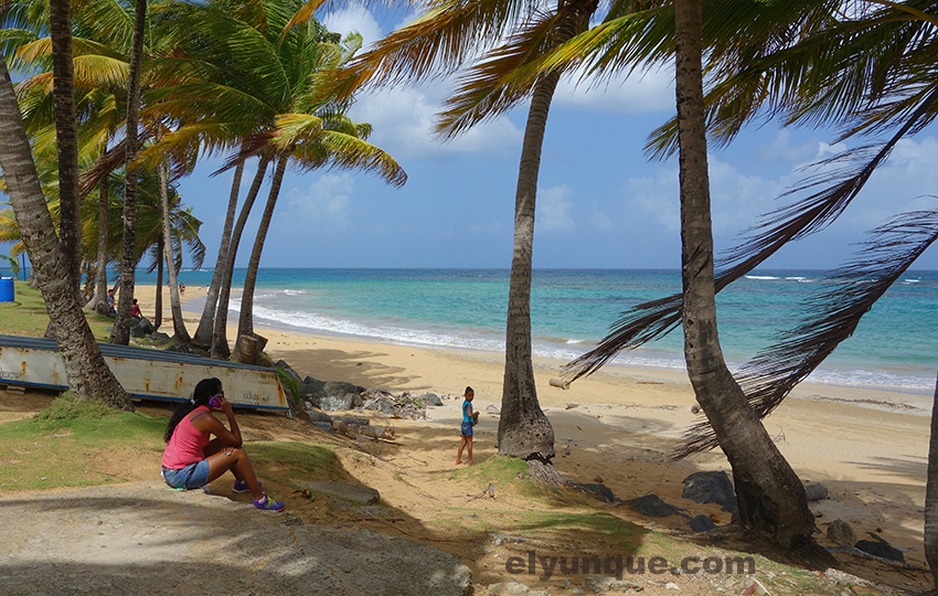 The calm beach at the end of the Luquillo town beach road