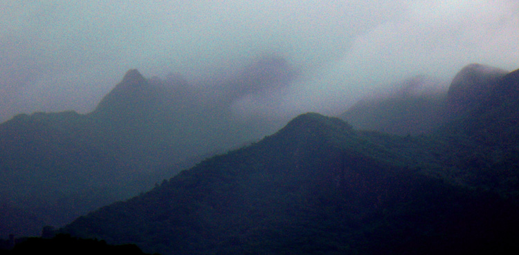 The Luquillo mountains el yunque rainforest in the mist